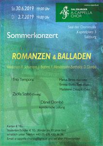 """30. Juni und 2. Juli 2019: Konzert """"Romanzen und Balladen"""""""